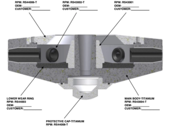 250 x 70 Atomizer Wheel Components Cross Section