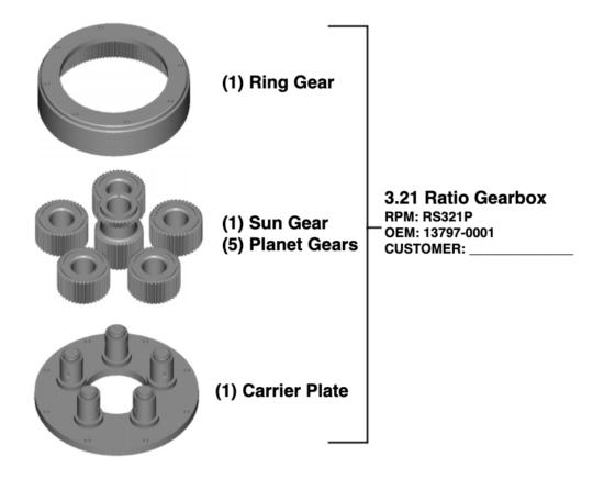 3.21 ratio gearbox
